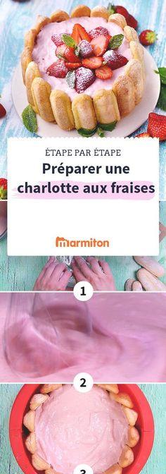 Réalisez cette délicieuse recette de charlotte aux fraises très facilement en suivant notre pas à pas en images #recette #marmiton #charlotte #charlotteauxfraises #charlottefraise #fraise