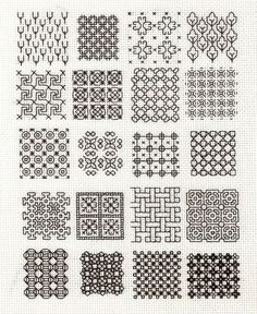 Embroidery Designs Blackwork samplers - When I first got interested in blackwork I decided I wouldn't burn myself out on it. Typically, when I start a new craft I read as much as I can about it and then tackle a project that captur… Motifs Blackwork, Blackwork Cross Stitch, Blackwork Embroidery, Folk Embroidery, Japanese Embroidery, Cross Stitching, Cross Stitch Embroidery, Cross Stitch Patterns, Embroidery Tools