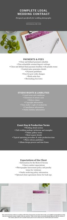 Photographer Marketing Templates Custom Branded Contract Event - contract term sheet template