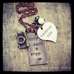 Mixed metal photographer necklace keep calm by MyaBruceDesigns