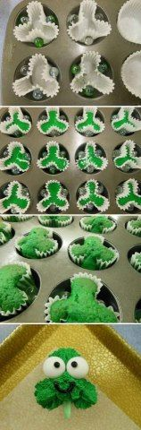 Shamrock Cupcakes. Add green food color to cake mix batter.  Put 3 marbles in cupcake pan so they push the cupcake liner in to for a shamrock.