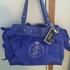 Juicy Couture Handbag Brand new Juicy Couture Velour cobalt blue handbag. Sequined logo with a side bow and silver hardware details. Juicy Couture Bags Shoulder Bags