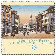 1000 Jahre Fürth German Stamps, Envelope Art, Fauna, Mail Art, Stamp Collecting, Postage Stamps, Germany, Poster, Country