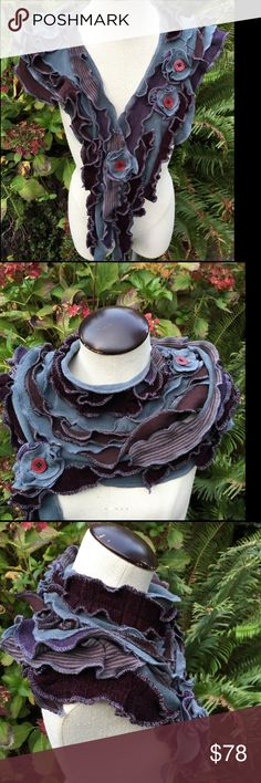 GORGEOUS HANDMADE UNIQUE SHAWL , ONE SIZE IF YOU WOULD LIKE FOR THIS DESIGNER TO CREATE THE SCARF FOR YOU IN OTHER COLORS, PLS.LEAVE ME A COMMENT. THANKS BRIAN 🌹Handmade scarf, shawl, Collage of Textures, Ruffles, Flowers, Upcycled Clothing. Recycled materials include: lace, silk, cotton.  Repurposed refashioned eco friendly, steel grey plum, ruffles, no wool. PENDING Accessories Scarves & Wraps
