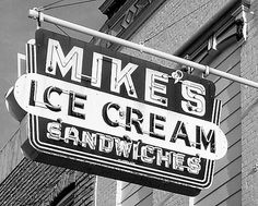 Mike's Ice Cream Shop neon sign