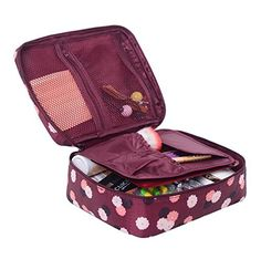 5a21fb90b582 Amazon.com  Pockettrip Clear Cosmetic Makeup Bag Toiletry Travel Kit  Organizer New 2015 (Flower in Sky Blue)  Baby