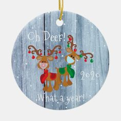 Oh Deer What a Year Christmas Pandemic 2020 wood Ceramic Ornament - tap/click to personalize and buy #CeramicOrnament #christmas, #ornament, #covid, #coronavirus, #2020, Christmas Photo Cards, Best Christmas Gifts, Christmas Card Holders, Christmas Tree, Oh Deer, Personalized Christmas Ornaments, Tree Designs, Craft Sale, Xmas Crafts