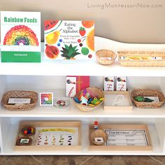 Lots of free eat-a-rainbow printables and Montessori-inspired activities for preschoolers through first graders at home or in the classroom!