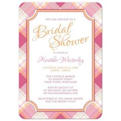 Bridal Shower Invitations - Pink & Orange Plaid