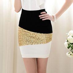 Slimming Color Block Golden Sequin Embellished Women's Pencile Skirt