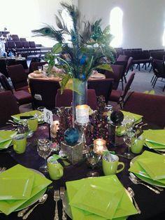 Christmas peacock table