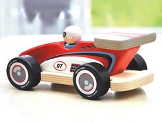 Racing Rocky makes a memorable 1st birthday present. An ultra cool push along car made from durable rubberwood complete with a removable driver and a sleek paintwork finish. $35