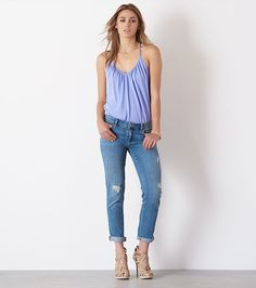 This boyfriend jean features that borrowed-from-the-boys fit you love so much, slightly distressed details and flattering cuffed leg.