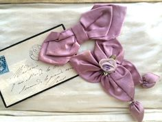 Lovely Authentic Antique Ribbonwork Bow Dress Trim Sweet Center Rose with Leaves from the Flapper Era.