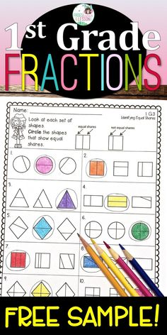 FREE PRINTABLE math worksheets! Try this large sample in your classroom! Includes fractions, measurement, shapes, counting, addition, subtraction, and place value!
