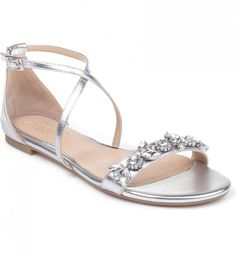 24 Wedding Sandals You Can Definitely Wear Again - flat silver sandal with x-strap and beaded strap across toes