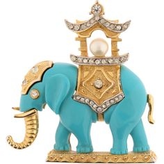 Pre-owned Vintage Hattie Carnegie Elephant Brooch ($783) ❤ liked on Polyvore featuring jewelry, brooches, vintage broach, rhinestone jewelry, hattie carnegie brooch, elephant brooch and pre owned jewelry