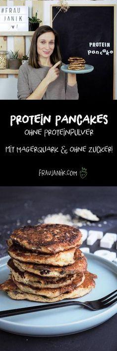 Protein Pancakes ohne Proteinpulver - mit Magerquark & ohne Zucker … #zuckerfrei #ohnezucker #proteinpancakes #pancakes #gesund #gesundbacken #gesundkochen #gesunderezepte #pancakerezept #haferflocken #Eiweiß