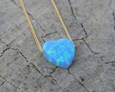 Opal necklace heart necklace gold necklace opal heart by miniLALI