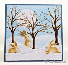 KC Impression Obsession Bunny Set - great tutorial on how to make card, with link to doing day/night time snow cards. She makes the most wonderful things with dies!
