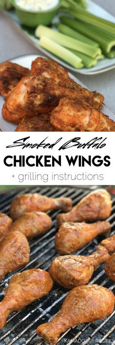 Smoked Buffalo Chicken Wings - Kamado Grill Recipes Grill Recipes, Slow Cooker Recipes, Real Food Recipes, Cooking Recipes, Smoked Chicken Wings, Bbq Chicken, Green Egg Recipes, Kamado Grill, Buffalo Wings