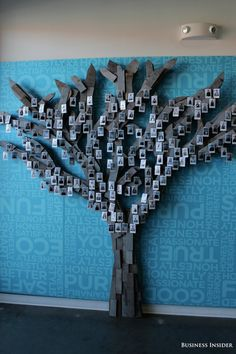 """the interactivity of a huge """"art"""" piece is a big deal for a really big space. honest company uses this for employee photos… I think somehow about the wish art collective intention idea of yoko ono's wish trees, the wish art I sent you."""