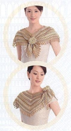 cape adorned with a flower.,