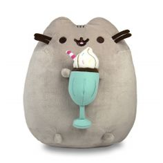 "One of Pusheen's favorite treats is a cold, creamy milkshake! Exclusively at IT'SUGAR, Pusheen is holding a chocolate milkshake, with ""whipped cream"" on top accented with sprinkles and a straw of course. Gato Pusheen, Pusheen Cat Plush, Kawaii Plush, Cute Plush, Cute Stuffed Animals, Pusheen Stuffed Animal, Cute Pillows, Waldorf Dolls, My New Room"