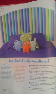 Pool noodle headboard. Love this!