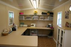Why have a craft room when you can have a craft SHED!?!?!  Yes, please! Scrapbook/Craft Room - Two Peas in a Bucket