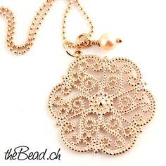 halskette und Anhänger aus Silber vergoldet // 925 sterling silver rose gold plated necklace