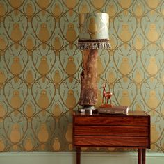 Audrey & Abby Interiors: Owls for a Day - beautiful wallpaper.