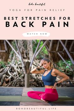 Best Stretches For Back Pain Relief - Boho Beautiful These effective yoga stretches for back pain relief are an easy and gentle path to recovery, healing, and back pain prevention. Back Yoga Stretches, Best Stretches, Stretching Exercises, Yoga For Beginners, Beginner Yoga, Yoga For Kids, Kid Yoga, Yoga Gym, Workout Songs