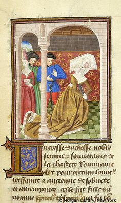 De Mulieribus Claris: Scene, Lucretia committing Suicide -- Lucretia, wearing truncated hennin and fur-lined garment, stabs herself in breast with knife. At left stand woman, wearing truncated hennin, looking away, with hands on abdomen, and two men, wearing hats, one raising hands, looking toward Lucretia.