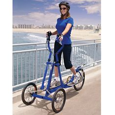 This is the bicycle that is propelled by elliptical exercise movements, providing a full-body, low-impact workout outside. The bicycle's upright handlebars and foot platforms move back-and-forth, building muscles and providing cardiovascular exercise while propelling the three-wheeled bike forward.