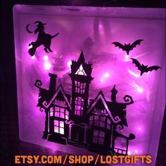 Halloween themed glass block www.etsy.com/shop/lostgifts