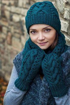 Комплект вязаный женский, комплект шарф шапка варежки вязаные, шапка шарф…