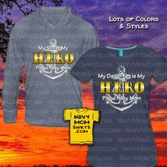 Navy Hero Son and/or Navy Hero Daughter - Proud Navy Mom Shirts designed by NavyMomShirts.com