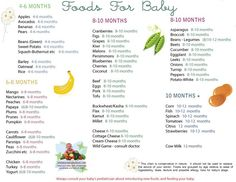 Solid Food Chart for Babies Aged 4 months through 12 months - Find age appropriate foods for all baby food stages on this simple to read baby food chart - this is a great guide for when to introduce what.  I'm probably a little overboard, but it's nice to know what things I shouldn't have to worry about now.