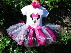 1st birthday tutu outfit Minnie Mouse with by TheRaspberryBunny, $55.00