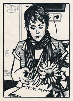 YUKI : Portraits of our friends - Hanna mit Hana Ink Pen Drawings, Drawing Sketches, Hana, Wood Engraving, Print Artist, Art Sketchbook, Drawing People, Figure Drawing, Printmaking