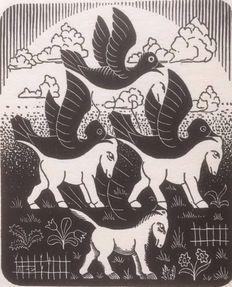 Maurits Cornelis Escher (1898 - 1972) - Paarden en vogels