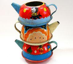 Antique toy teapots.  c1930s-1950s