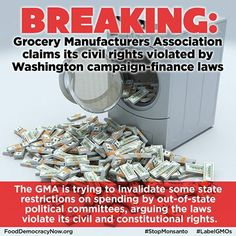 Grocery Manufacturers Association claims its civil rights violated by Washington campaign finance laws. More here: http://blogs.seattletimes.com/politicsnorthwest/2014/01/13/grocery-group-claims-its-civil-rights-violated-by-washington-campaign-finance-laws