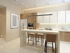 Modern small bright kitchen with light wood cabinets and eat-in table bar/island ... 100 Kitchen Ideas ...