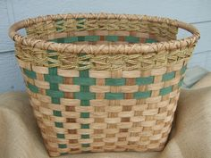 Rectangle Laundry Basket  Woven in Green. $85.00, via Etsy.