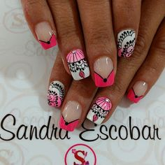 Uñas decoradas con mándalas Fingernail Designs, Nail Patterns, French Tip Nails, Stamping Plates, Manicure And Pedicure, Beauty Nails, Nail Art, Floral, Color