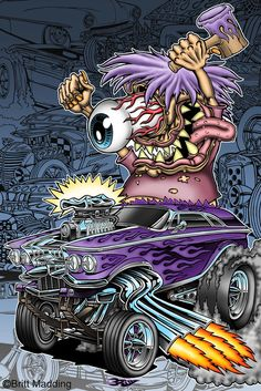 Kids always destroy their toys! One of my favorite Ed Roth characters. © Britt Madding 2011 This artwork is for sale as prints or for licensing purposes. Cartoon Rat, Cartoon Monsters, Cool Car Drawings, Cartoon Drawings, Ed Roth Art, Caricature, Rockabilly Art, Monster Car, Fu Dog
