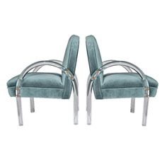 acrylic furniture | Lucite - Pace Collection Vintage Velvet Chairs from NOMO