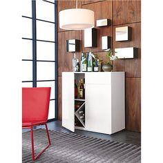 swig white mini bar in storage furniture | CB2